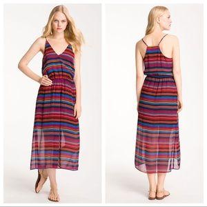 Joie Jesebelle Striped Silk Chiffon Midi Dress